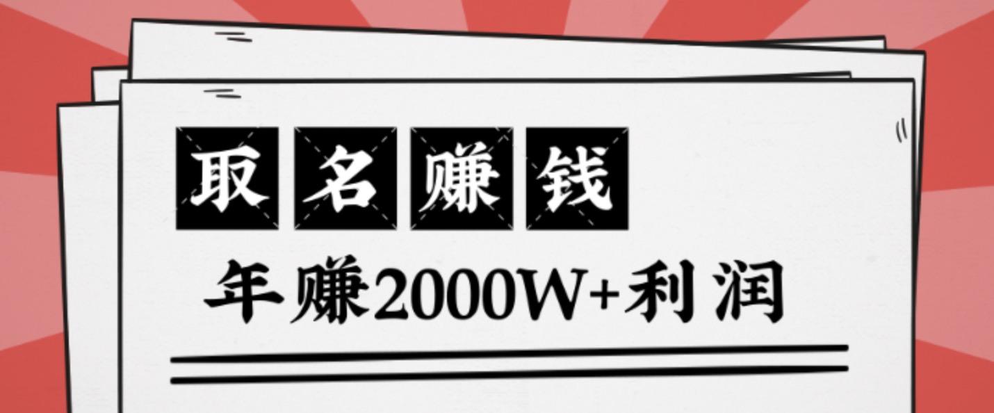 王通:不要小瞧任何一个小领域,取名技能也能快速赚钱,年赚2000W+利润 百度网盘