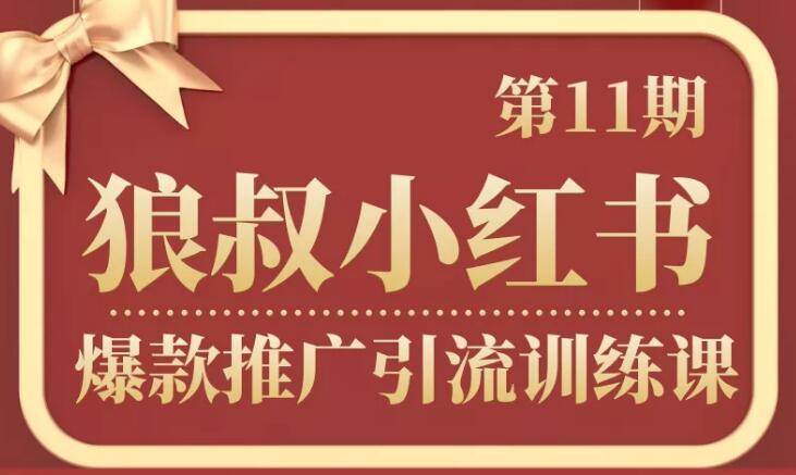 狼叔小红书爆款推广引流训练课第11期  百度网盘